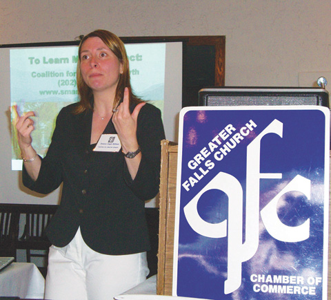 COALITION FOR SMARTER Growth's director of planning, Jessica Millman, spoke to the F.C. Chamber of Commerce Tuesday. (News-Press photo)