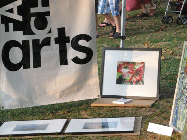 ORIGINAL ART WORK on display at last week's Concert in the Park in Cherry Hill Park was accompanied by the local artists, Falls Church's Layne Kalbfleisch and Eileen Levy.