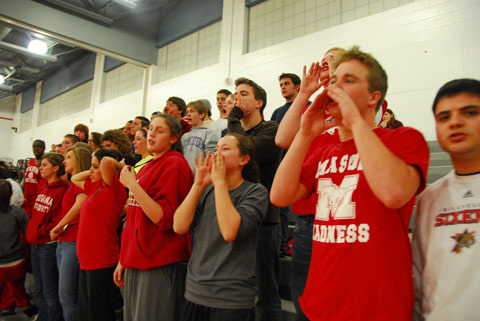 MASON HIGH FANS CHEER during last Wednesday's game against the Clarke County Eagles. (Photo: Rich Johnson)