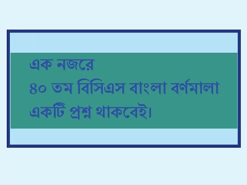 বিসিএস প্রস্তুতি ৪০ তম বিসিএস বাংলা বর্ণমালা