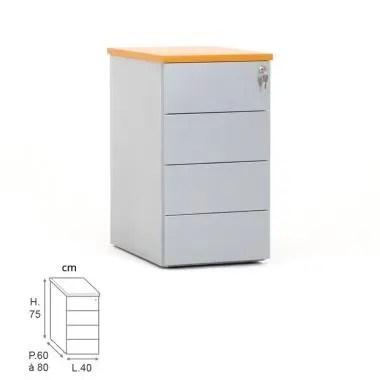 caisson hauteur bureau cub metal 4 tiroirs