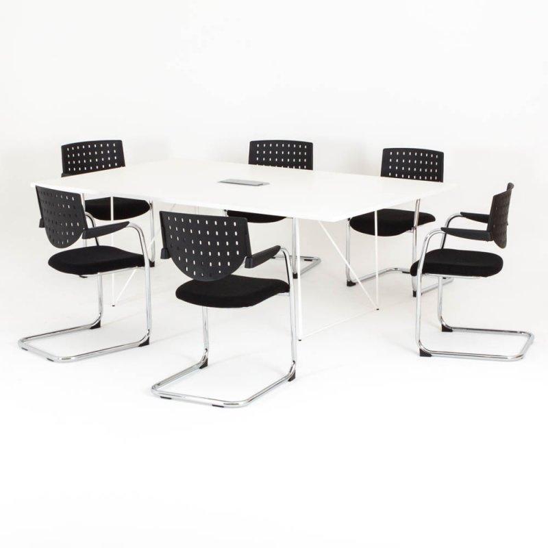 table de reunion rectangulaire epure l 220 x p 130 cm