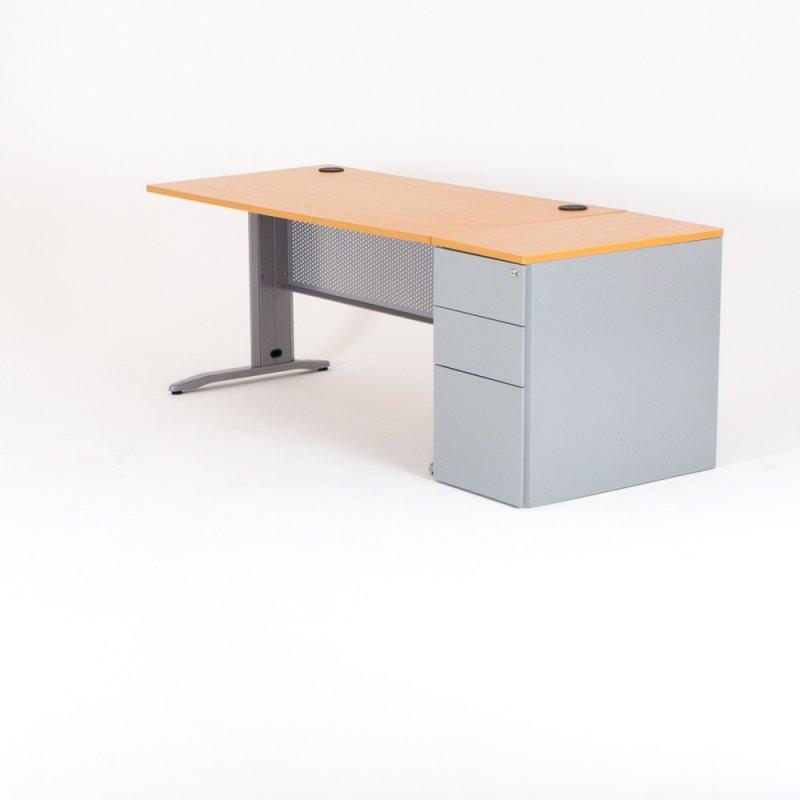 bureau droit avec caisson hauteur bureau metal l 180xp 80 cm hetre