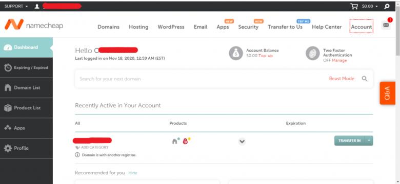 Namecheap hosting Coupon  dashboard