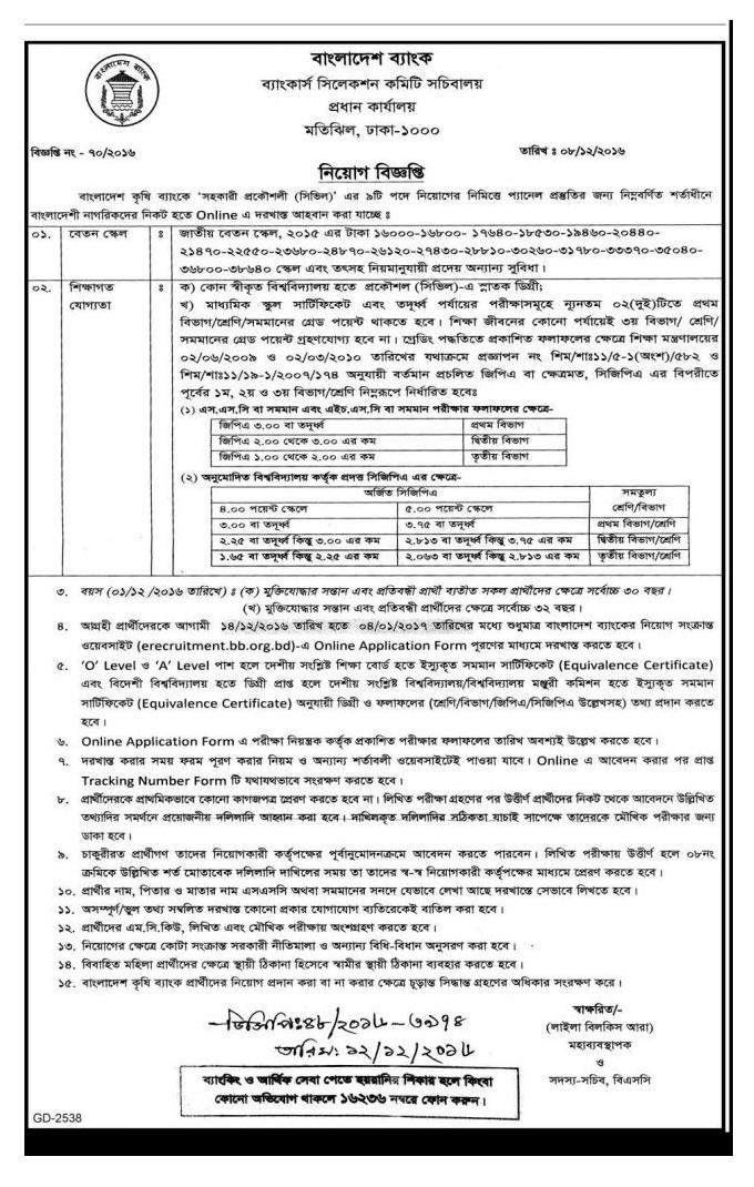 Bangladesh Krishi Bank Jobs Circular December 2016.