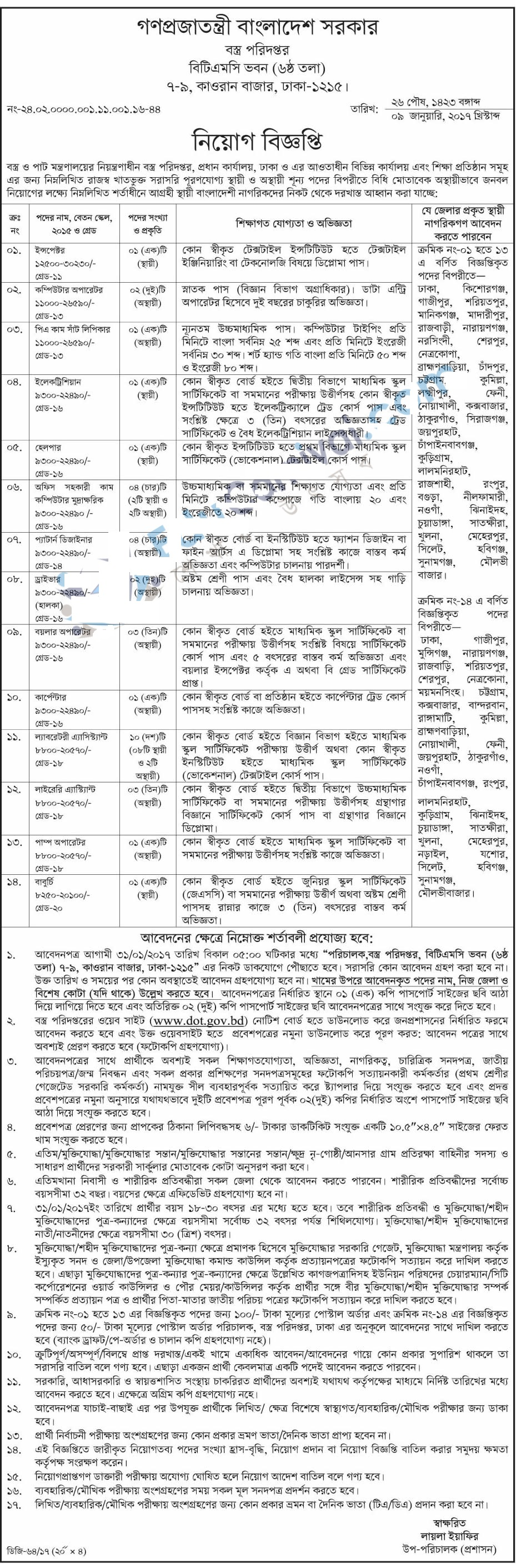 Department of Textiles, Ministry of Textiles and Jute Job Circular On January 2017