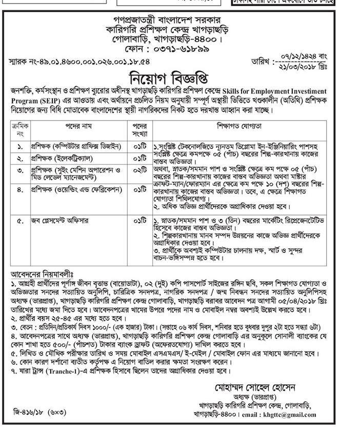 Bangladesh Technical Training Center Job Circular 2018 (TTC) Job Circular