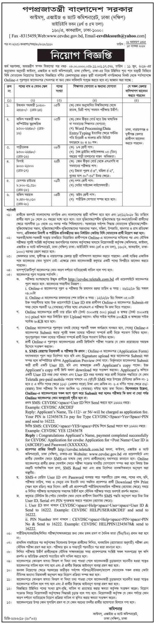 Bangladesh Customs House Job Circular 2018