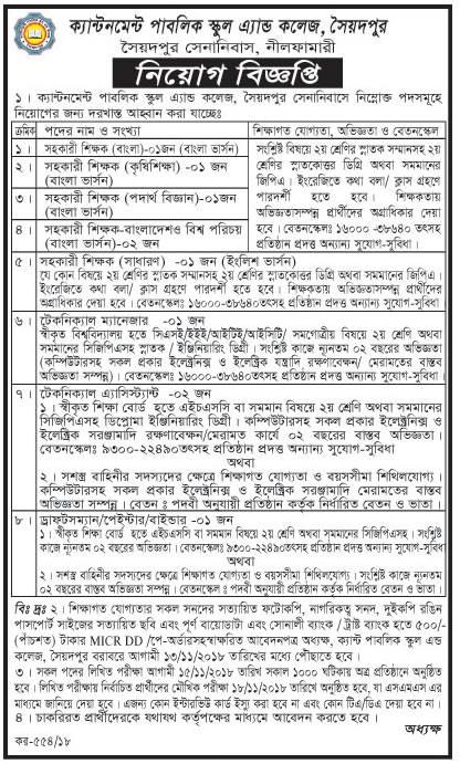 Job at Cantonment Public School and College - Chakrir Khobor