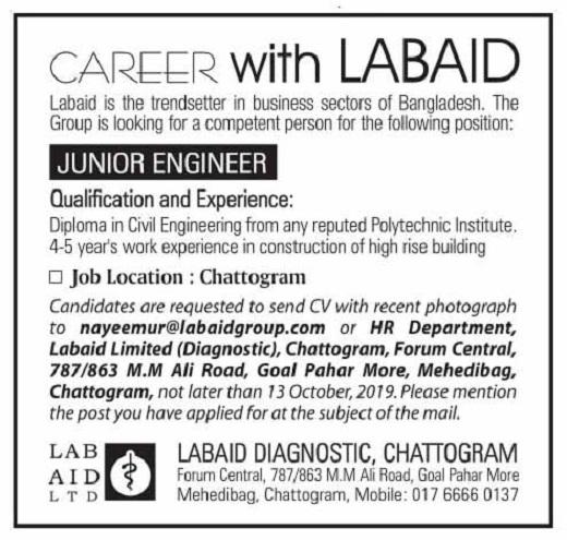 Labaid Limited Diagnostic Job Circular 2019