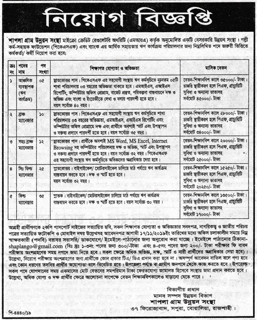 Shapla Gram Unnayan Sangstha Job Circular 2019