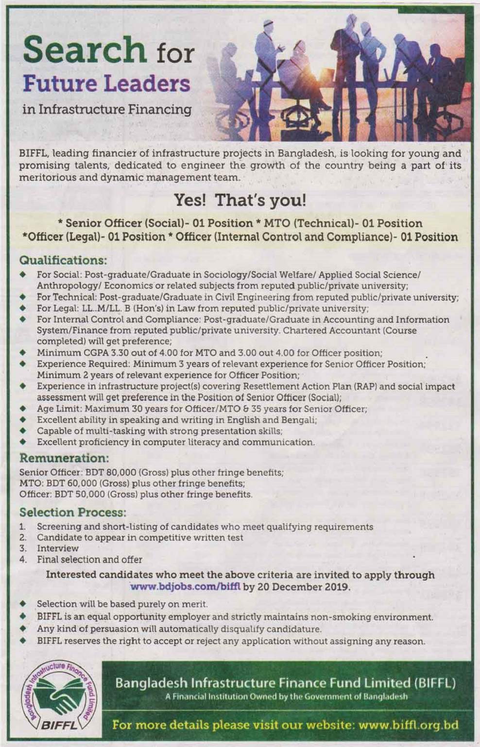 Bangladesh Infrastructure Finance Fund Limited Job Circular 2019
