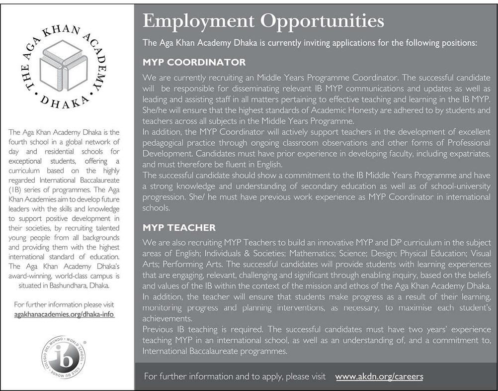 The Aga Khan Academy Dhaka Job Circular 2020