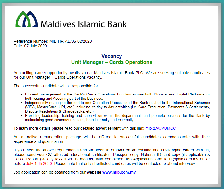 Maldives Islamic Bank Job Circular 2020