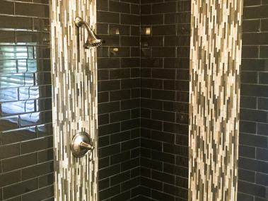 BDM-Residential-Remodeling-White Walk-In Shower with Modern Black & Gray Tile Waterfall Design