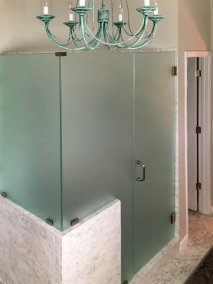BDM-Residential-Remodeling-White Walk-In Shower with Frosted Glass