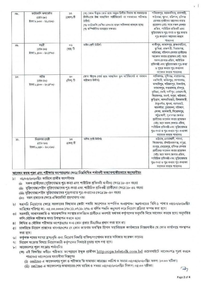 Office of the Controller General of Accounts Job Circular 2020 3