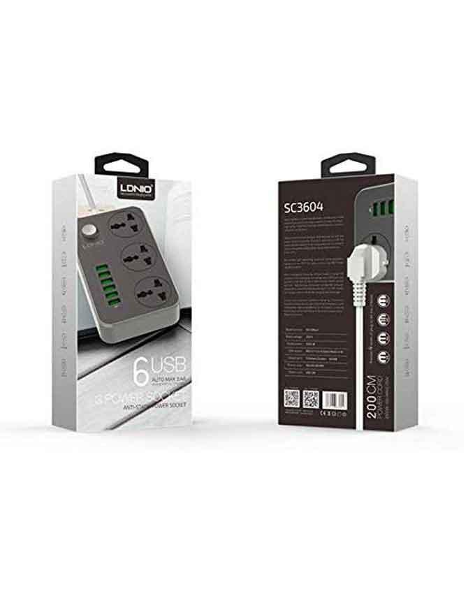 41IGjH1fEBL. AC LDNIO SC3604 3.4A 2500W 6 USB Ports Power Strip - Grey