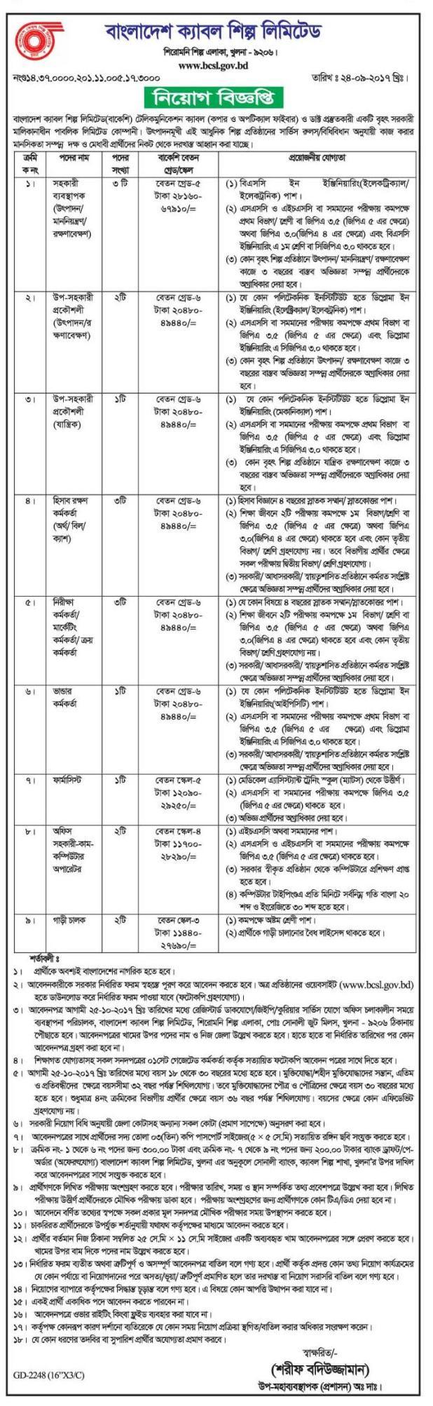Bangladesh Cable Shilpa Limited Job Circular 2017