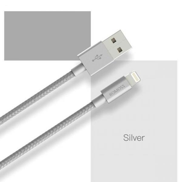Cablu Lightning, Nylon luxury, MFI, SILVER