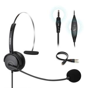 Casca cu microfon BH01, pentru Call Center, Skype VOIP, ZOOM, MEET, TEAM