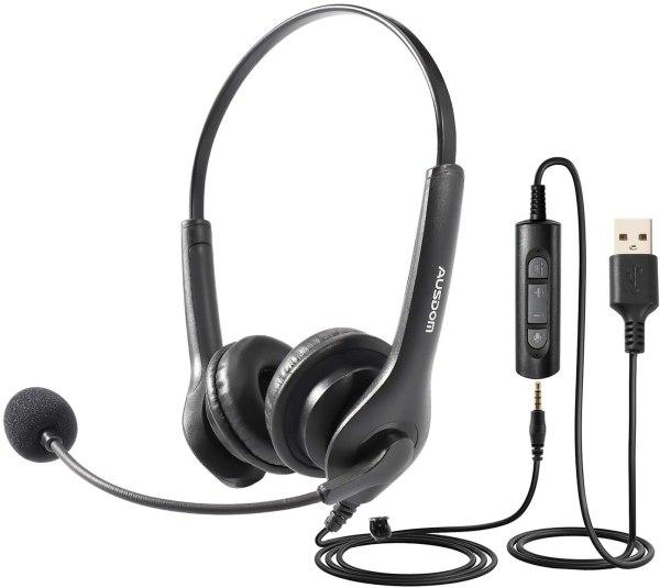 Casca cu microfon BS01, pentru Call Center, Skype VOIP, ZOOM, MEET, TEAM, negru