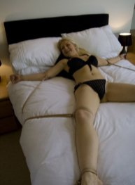 Gorgeous Blond Model Restrained in Hotel Room for Fun