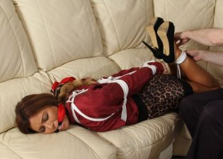 Gorgeous Secretary Gagged and Hogtied for Punishment