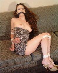 Pretty Brunette Girlfriend Gagged and Bound for Fun