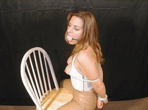 Sexy Blond Model Gets Gagged and Humiliated on Chair