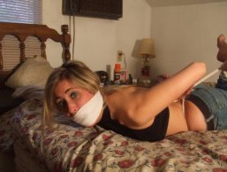 Sexy Girlfriend Tightly Bound and Gagged in Bedroom