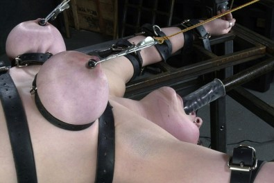 Busty Brunette Girlfriend Restrained, Gagged and Penetrated in Dungeon