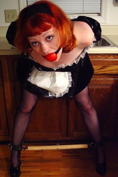 Cute Redhead Girlfriend Restrained and Collared in French Maid Outfit
