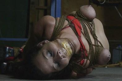 Horny Amateur Brunette Gagged, Hogtied and Tit Tortured in Basement