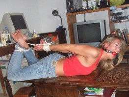 Hot Amateur Housewife Ball Gagged, Tied Up and Humiliated at Home