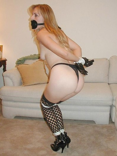 Hot Blonde Stripped, Hogtied and Gagged in High Heels and Stockings