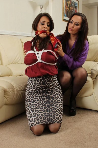 Hot Brunette Scarf Gagged, Hogtied and Humiliated by Coworker on Floor
