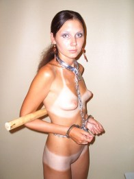 Petite Tanned Model Plays with Dildo while Spread, Chained and Collared