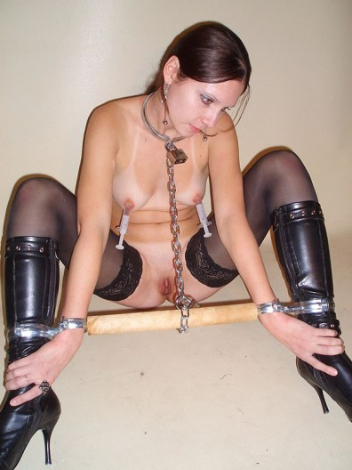 Sexy Amateur in Stockings and High Heels Chained, Leashed and Humiliated