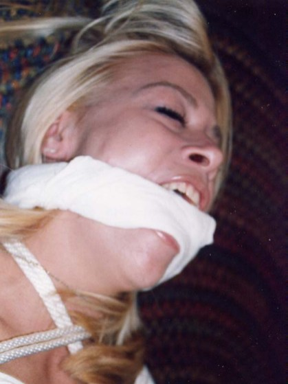 Sexy Blond Housewife Gets Bound and Gagged by Her Husband at Home