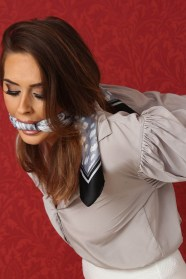 Sexy Brunette Secretary Scarf Gagged and Bound in Strappado in Office