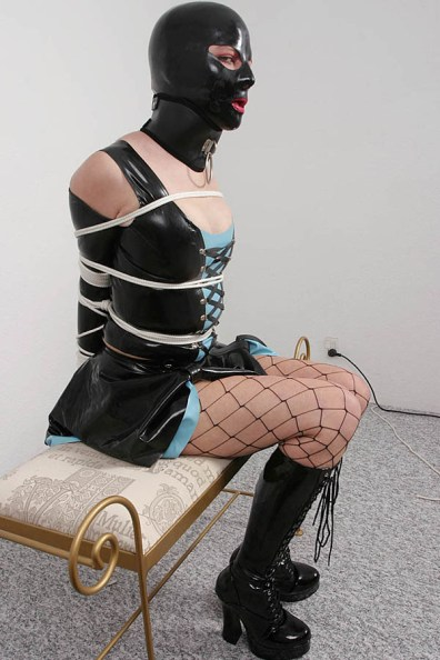 Wife in Latex Dress and Boots Gets Hooded, Collared and Gagged in Bondage