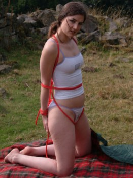 Young Amateur Girlfriend Tied Up for Her Boyfriend's Pleasure Outside