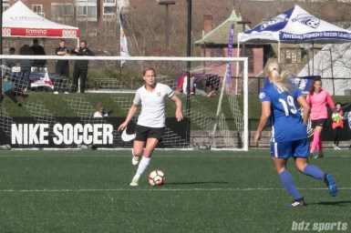 Sky Blue FC's captain Christie Pearce #3 controls the ball.