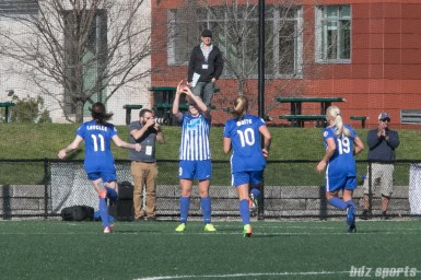 """Breakers' Natash Dowie signals a """"b"""" towards the Boston fans."""