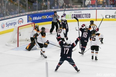 USA celebrates Haley Skarupa's #11 goal - team USA's 10th goal of the game.