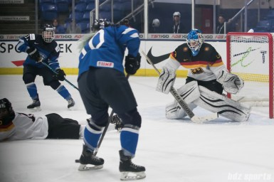 Germany's Ivonne Schroder #13 prepares to make a save.