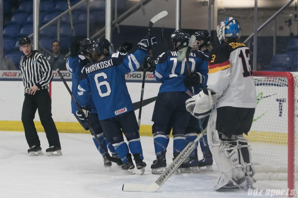 Team Finland celebrate a goal.