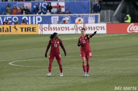 Team USA Crystal Dunn and Carli Lloyd