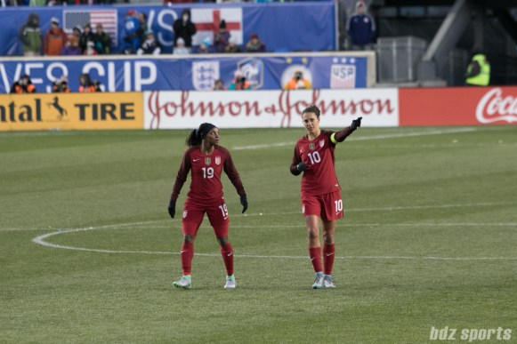 Team USA Crystal Dunn and Carli Lloyd
